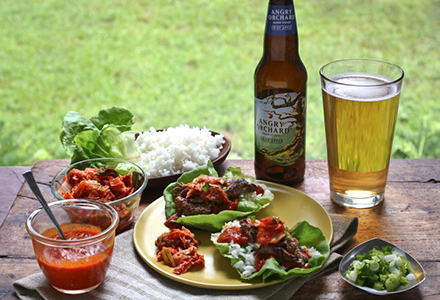 angry orchard crisp apple hard cider bulgogi lettuce wraps