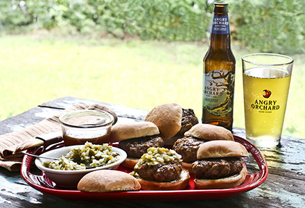 cheddar bacon burger sliders with angry orchard