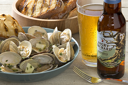crisp apple cider braised clams