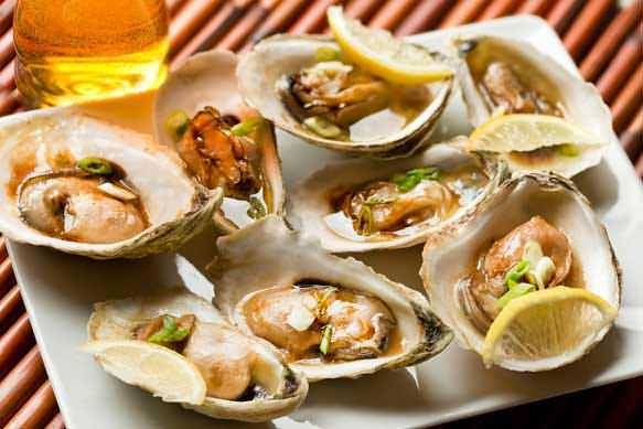 Grilled Oysters with Samuel Adams Boston Lager and Japanese Barbecue Sauce