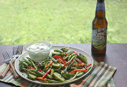 grilled vegetable salad with creamy angry orchard