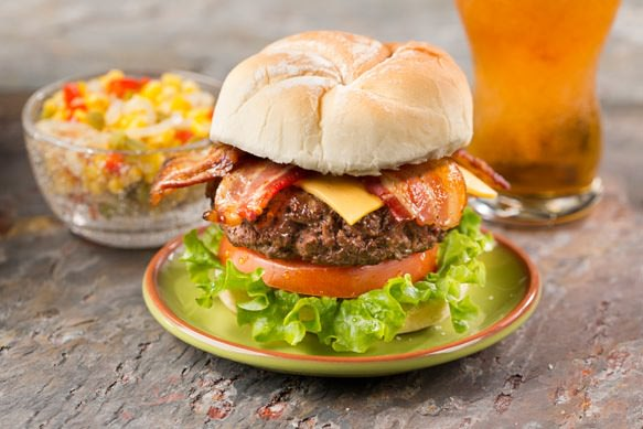Maple Bacon Cheeseburgers with Corn Relish