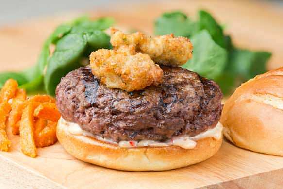 Po Boy Burgers with Crispy Oysters and Cajun Remoulade