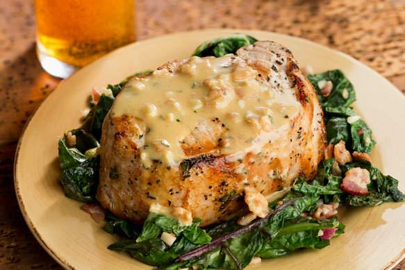 Roasted Pork Chops with Bacon and Wilted Greens