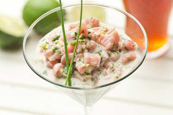 Tuna Ceviche with Samuel Adams Latitude 48 Coconut Milk and Cilantro