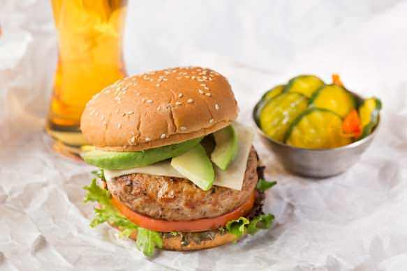 Turkey Burgers with Sliced Avocado and Monterey Jack Cheese