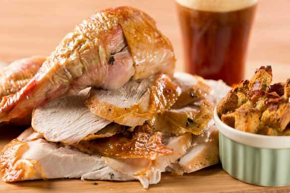 Roast Turkey with Old Fezziwig Ale Bread Pudding